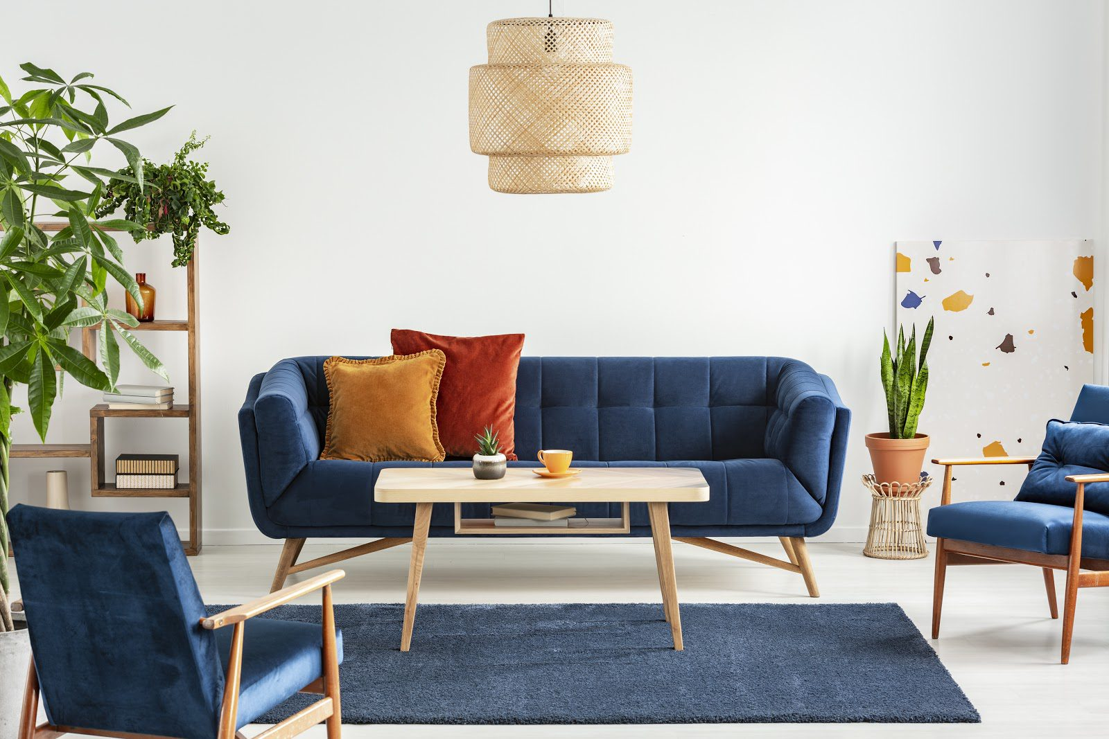 Mid-century modern living room in blue color palette