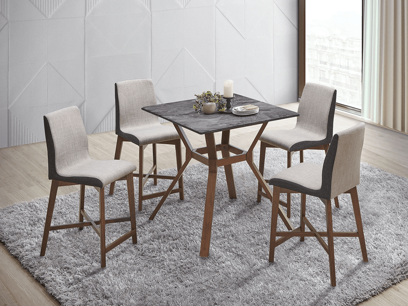 modern dining table: Parkersburg Square Counter Height Table Paladina And Natural Walnut