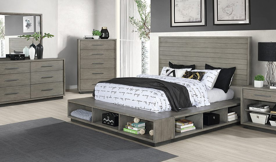 Derbyshire 4-Piece California King Storage Bedroom Set Grey Oak