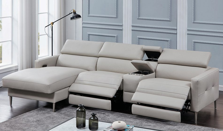 Beryl 4-Piece Power^2 Sectional Light Grey