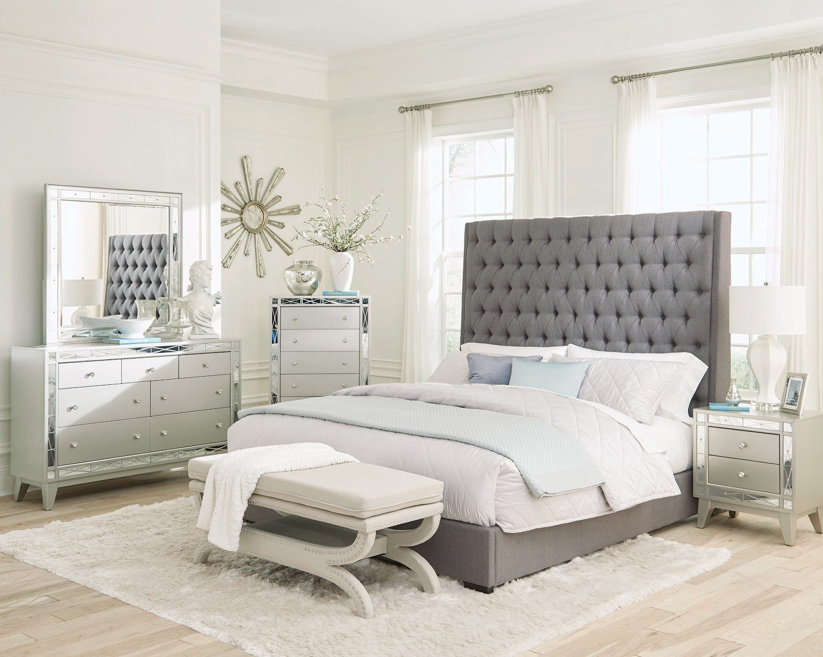 Small master bedroom ideas: Camille bedroom set grey and metallic mercury