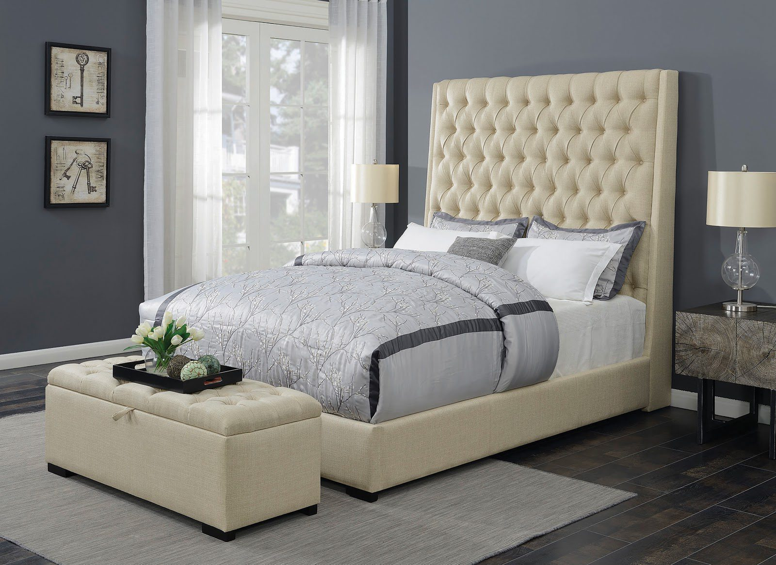 Camille queen button tufted bed cream