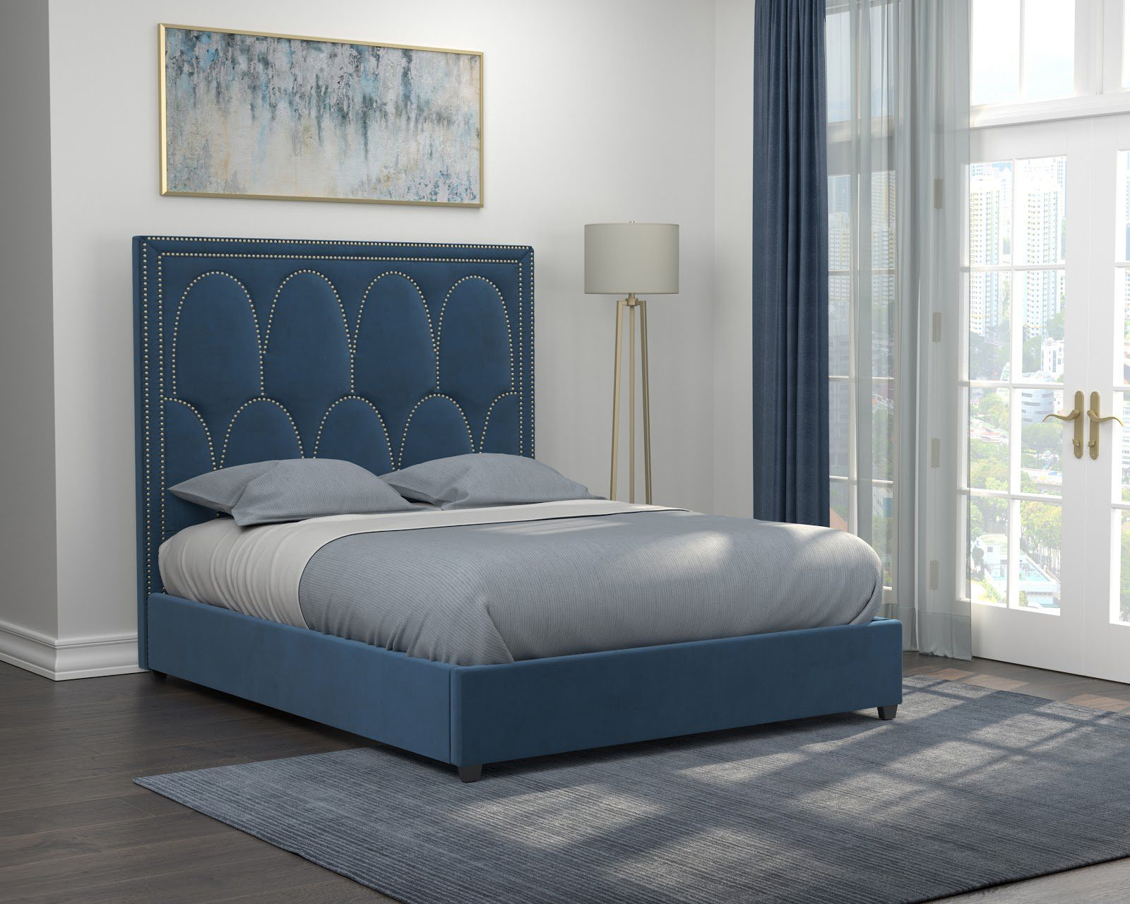 Small master bedroom ideas: Bowfield queen velvet upholstered bed blue