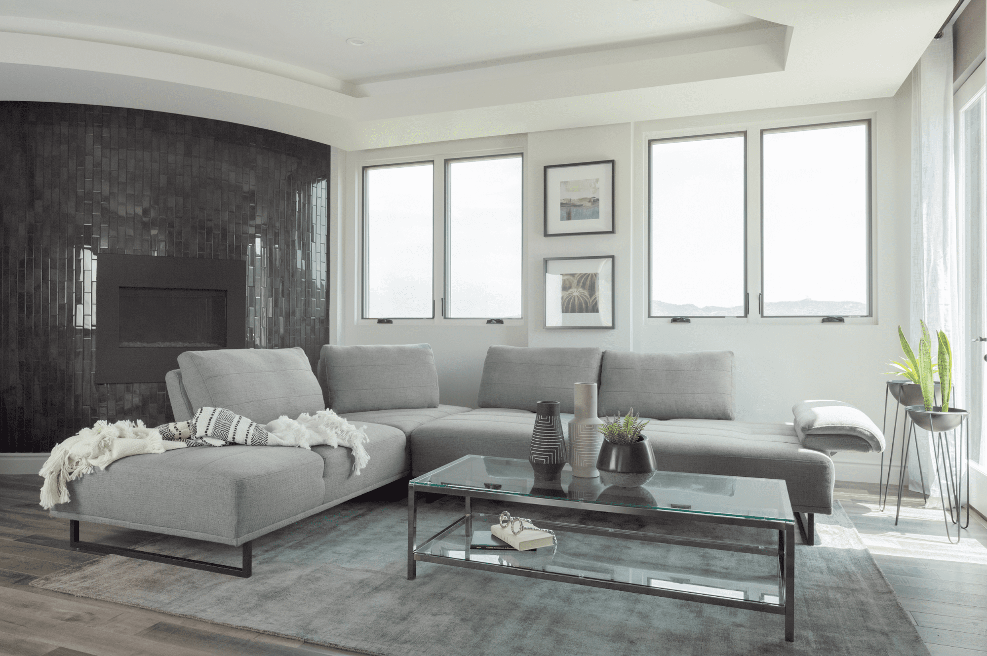 Living room layout ideas: Arden 2-piece adjustable back sectional taupe