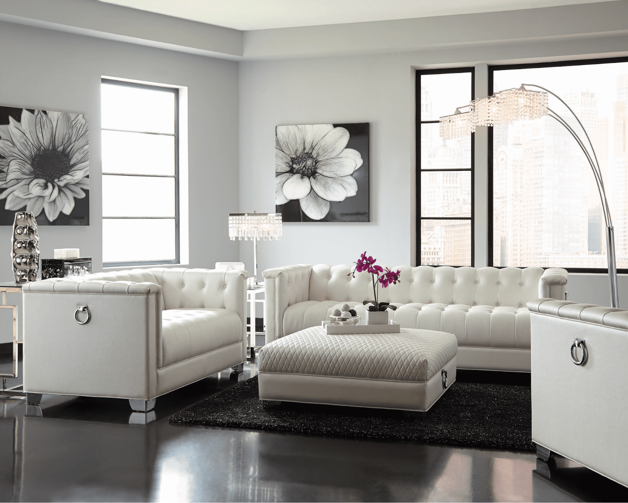 contemporary living room: Chaviano Tufted Upholstered Sofa Pearl White