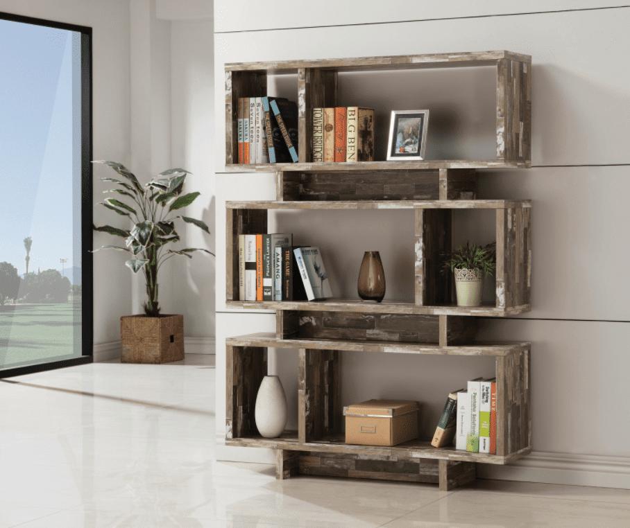 small bookshelf: 3-tier geometric bookcase salvaged cabin