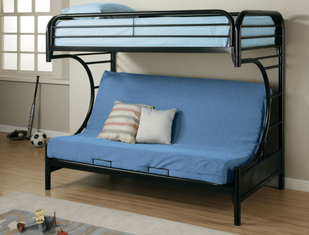 twin bunk beds: Montgomery twin over futon bunk bed glossy black