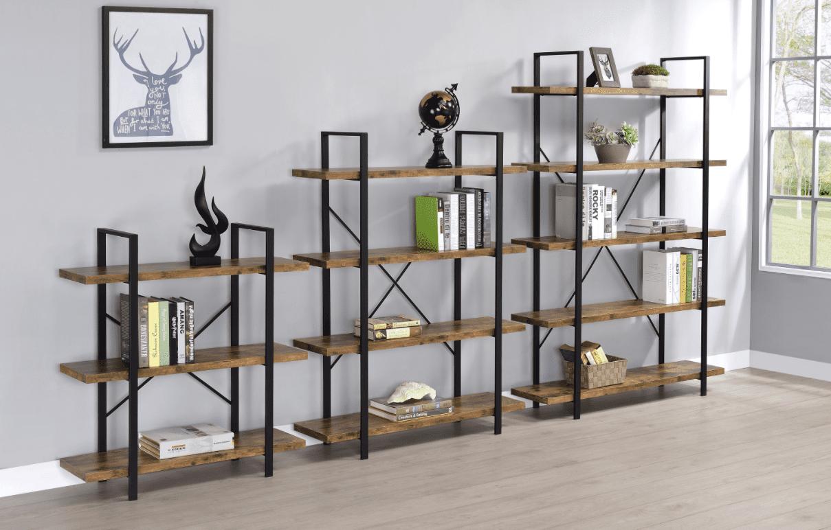 small bookshelf: 3-shelf bookcase antique nutmeg and black
