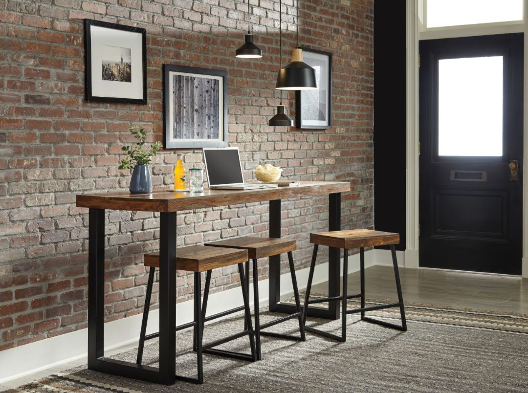 counter height table: Mindo Rectangular Counter Height Table Warm Chestnut And Matte Black