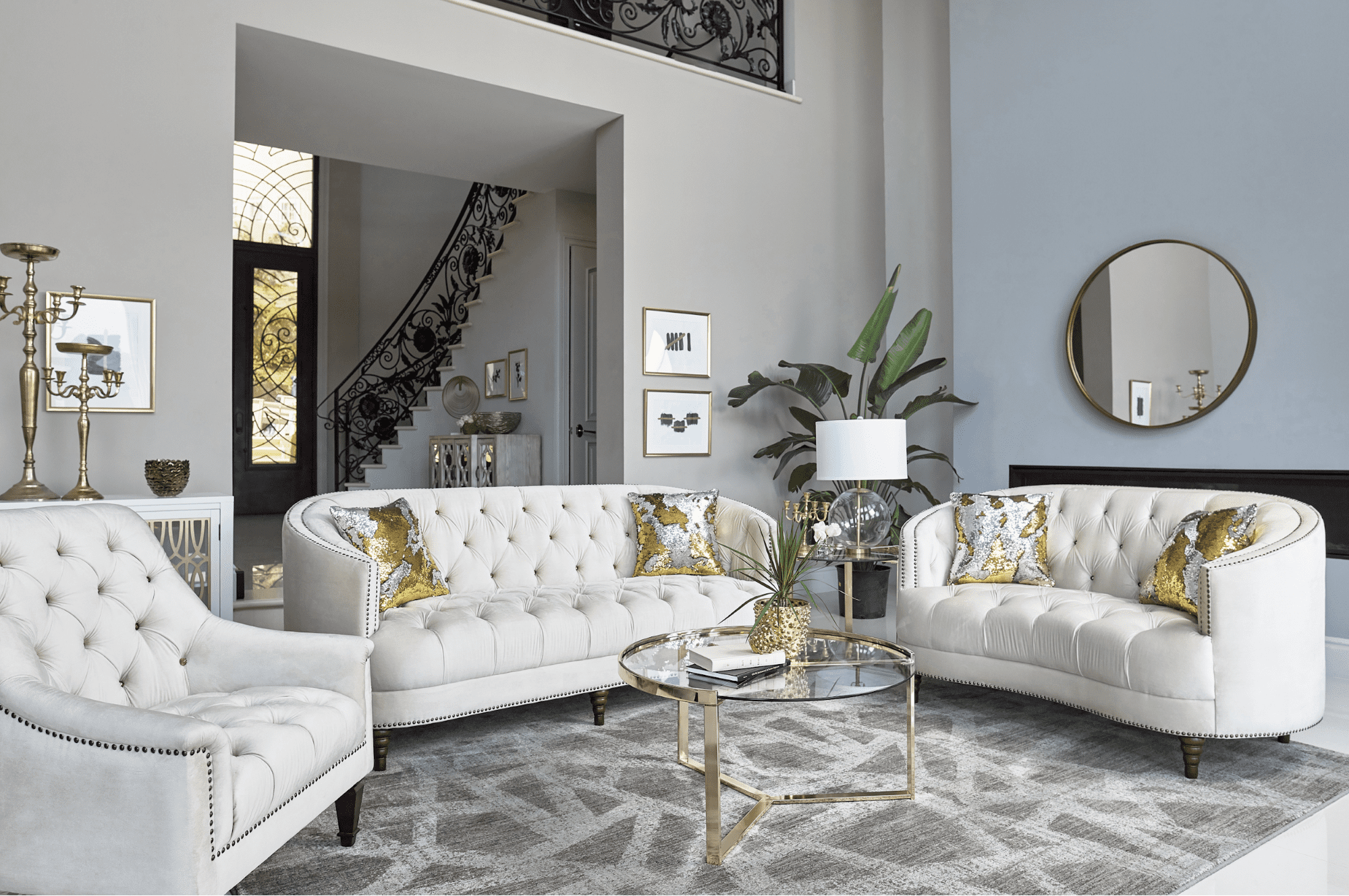 contemporary living room: Avonlea 2-Piece Upholstered Sloped Arm Living Room Set Off White