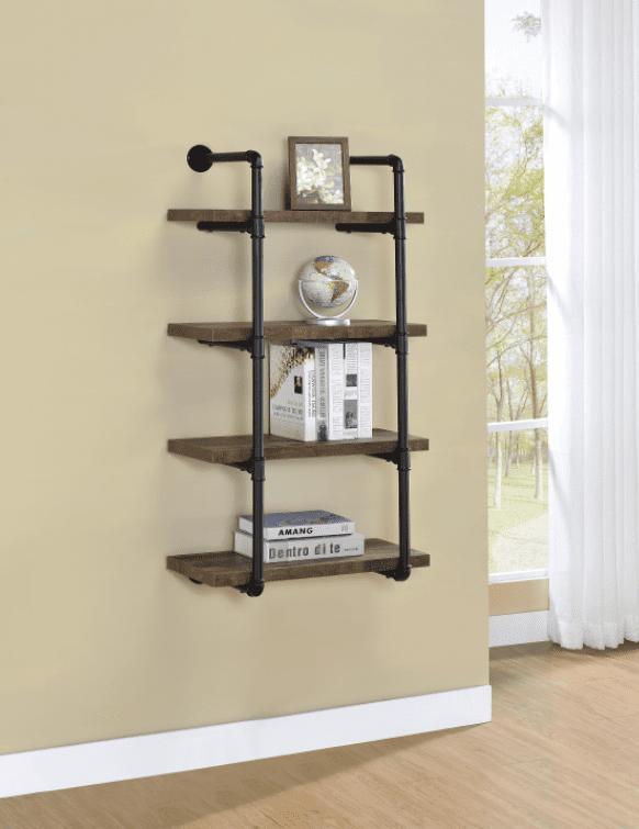 small bookshelf: 24-inch wall shelf black and rustic oak