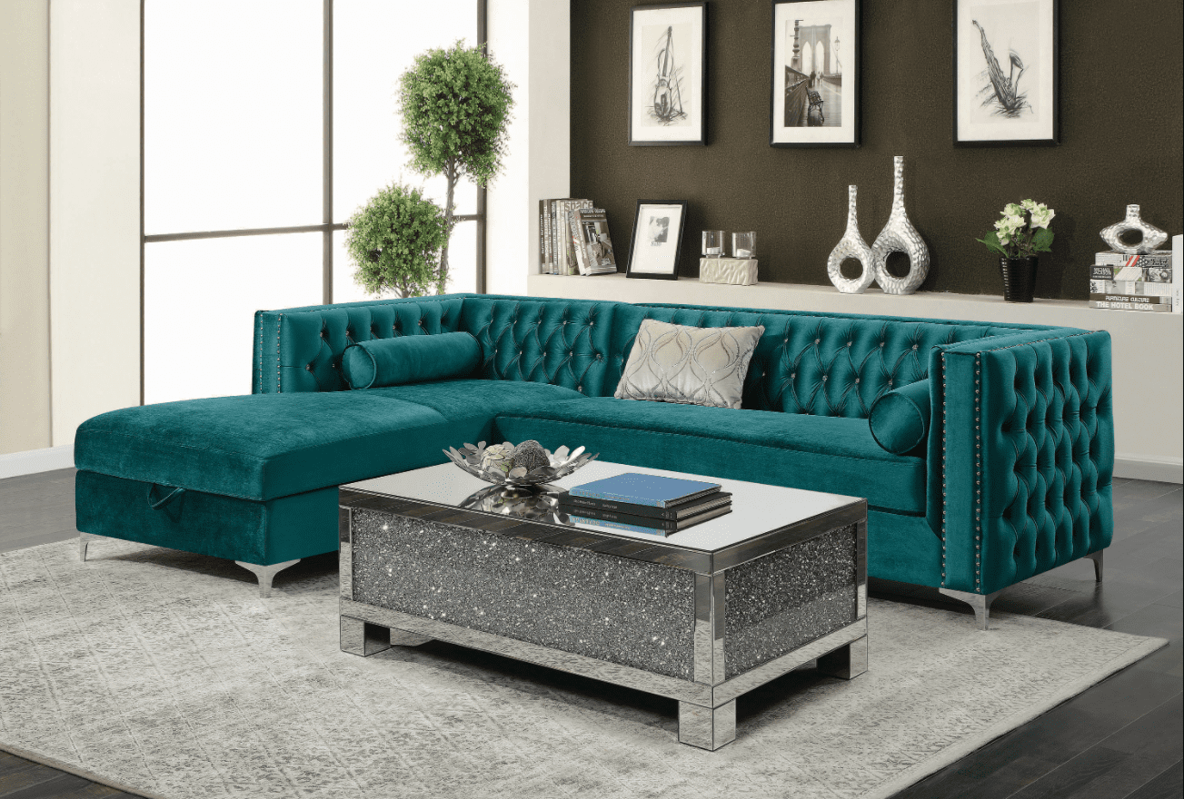 green sofa: Bellaire Button-Tufted Upholstered Sectional Teal