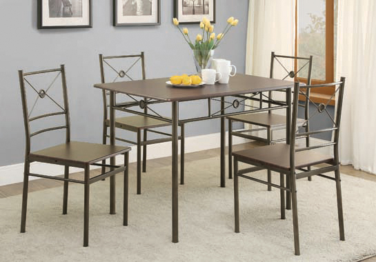 5-piece Rectangular Dining Set Dark Bronze
