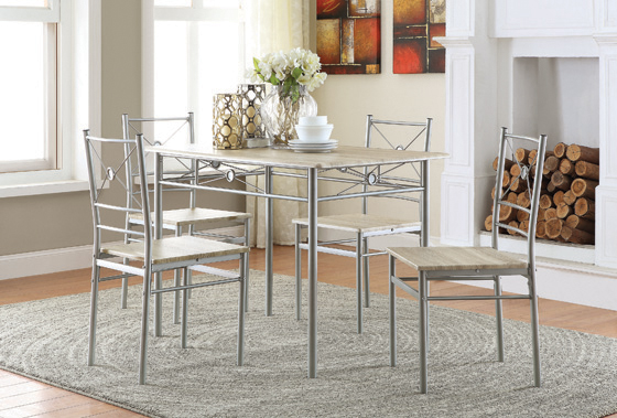 5-piece Rectangular Dining Set Brushed Silver