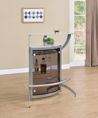 2-shelf Bar Unit Silver and Frosted Glass - Hover