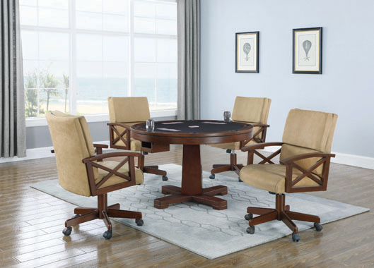 Marietta Round Wooden Game Table Tobacco - Hover