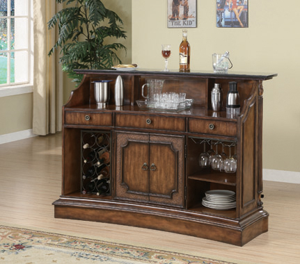 Marble Top 3-drawer Bar Unit Warm Brown