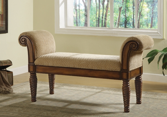 Upholstered Bench with Rolled Arm Brown and Camel - Hover