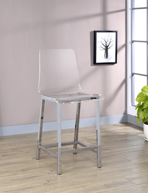 Counter Height Stools Chrome and Clear Acrylic (Set of 2) - Hover