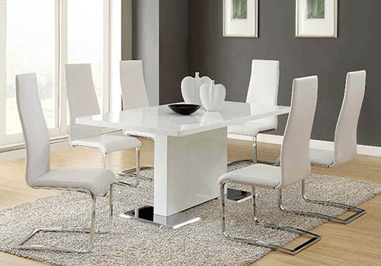 Anges High Back Dining Chairs Black and Chrome (Set of 4) - Hover