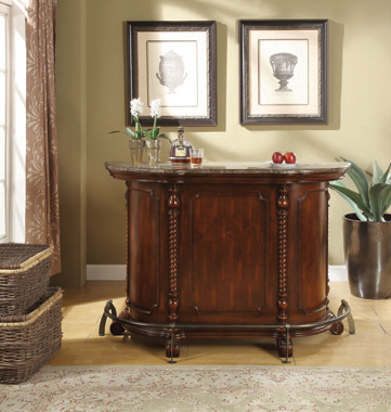 2-drawer Bar Unit with Marble Top Warm Brown - Hover