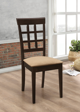 Gabriel Lattice Back Side Chairs Cappuccino and Tan (Set of 2) - Hover