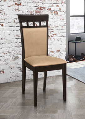 Gabriel Upholstered Side Chairs Cappuccino and Tan (Set of 2) - Hover