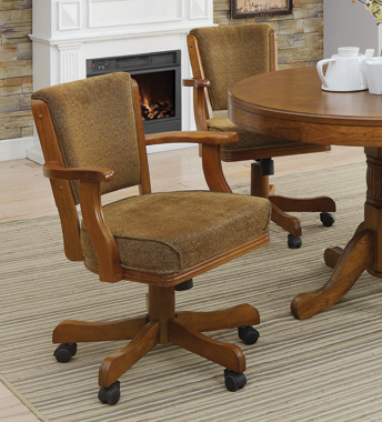 Mitchell Upholstered Game Chair Olive-brown and Amber - Hover