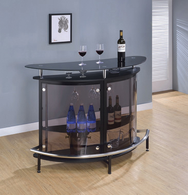 2-tier Bar Unit Black and Chrome - Hover