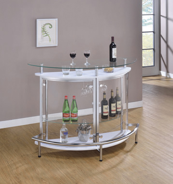 2-tier Bar Unit White and Chrome - Hover