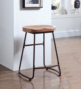 Backless Counter Height Stool Driftwood and Dark Bronze - Hover