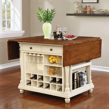 Slater Country Cherry and White Kitchen Island - Hover