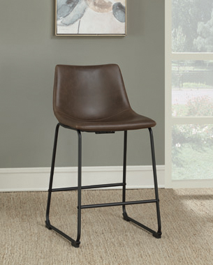 Armless Counter Height Stools Two-tone Brown and Black (Set of 2) - Hover