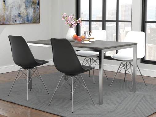 Armless Dining Chairs White and Chrome (Set of 2) - Hover