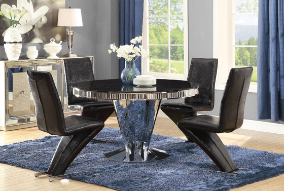 Barzini Round Dining Table Chrome and Black - Hover
