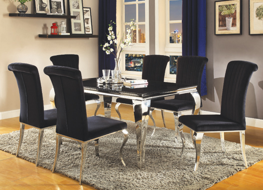 Carone Upholstered Side Chairs Black and Chrome (Set of 4) - Hover