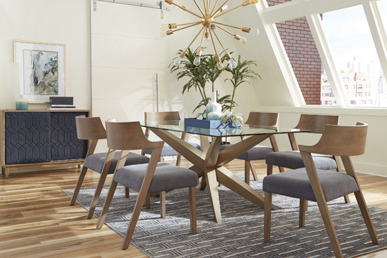 Artesia Glass Top Dining Table Grey Oak - Hover