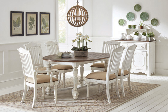 Simpson Oval Dining Table Vintage White and Latte - Hover