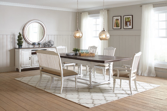 Simpson Rectangular Dining Table Vintage White and Latte - Hover