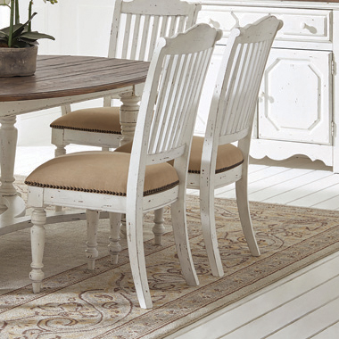 Simpson Slat Back Side Chairs Barley and Vintage White (Set of 2) - Hover