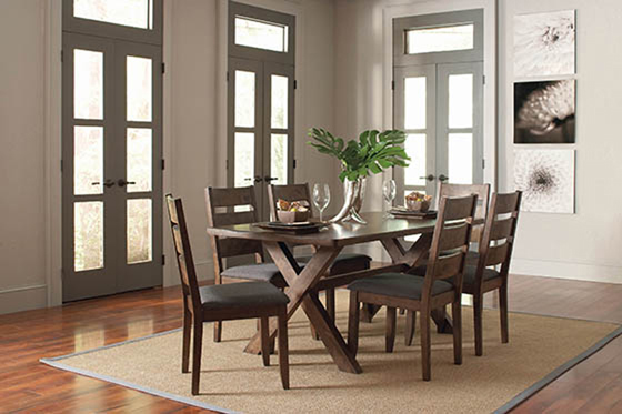 Alston Ladder Back Dining Side Chairs Knotty Nutmeg and Grey (Set of 2) - Hover