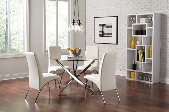 Beckham Round Dining Table Chrome and Clear - Hover