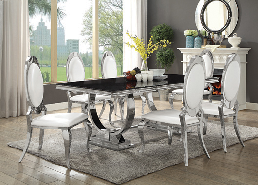 Antoine Rectangular Dining Table Chrome and Black - Hover