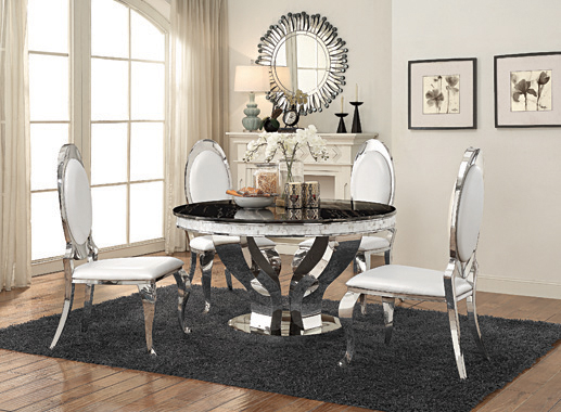 Anchorage Round Dining Table Chrome and Black - Hover