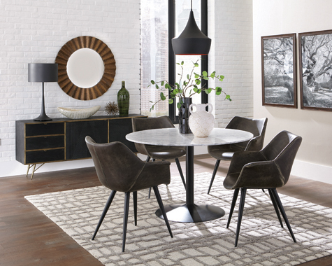 Bartole Round Dining Table White and Matte Black - Hover