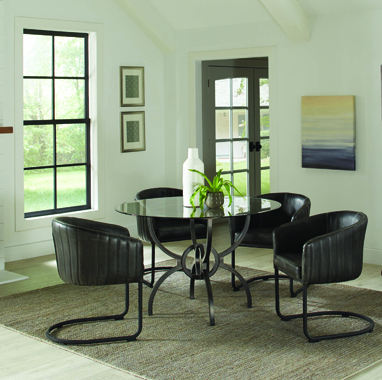 Aviano 5-piece Dining Set Gunmetal and Matte Black - Hover
