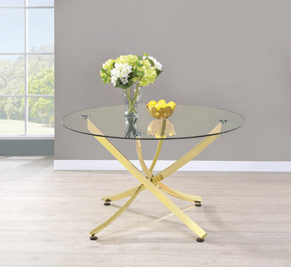 Chanel Round Dining Table Brass and Clear - Hover