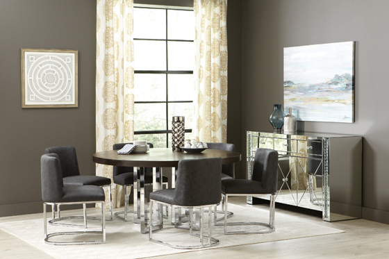 Fueyes Round Dining Table Graphite and Chrome - Hover