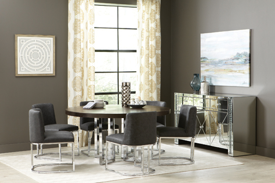 Fueyes Upholstered Dining Chair Black and Chrome - Hover