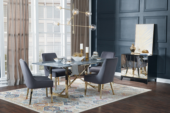 Arcade X-cross Dining Table Black and Sunny Gold - Hover
